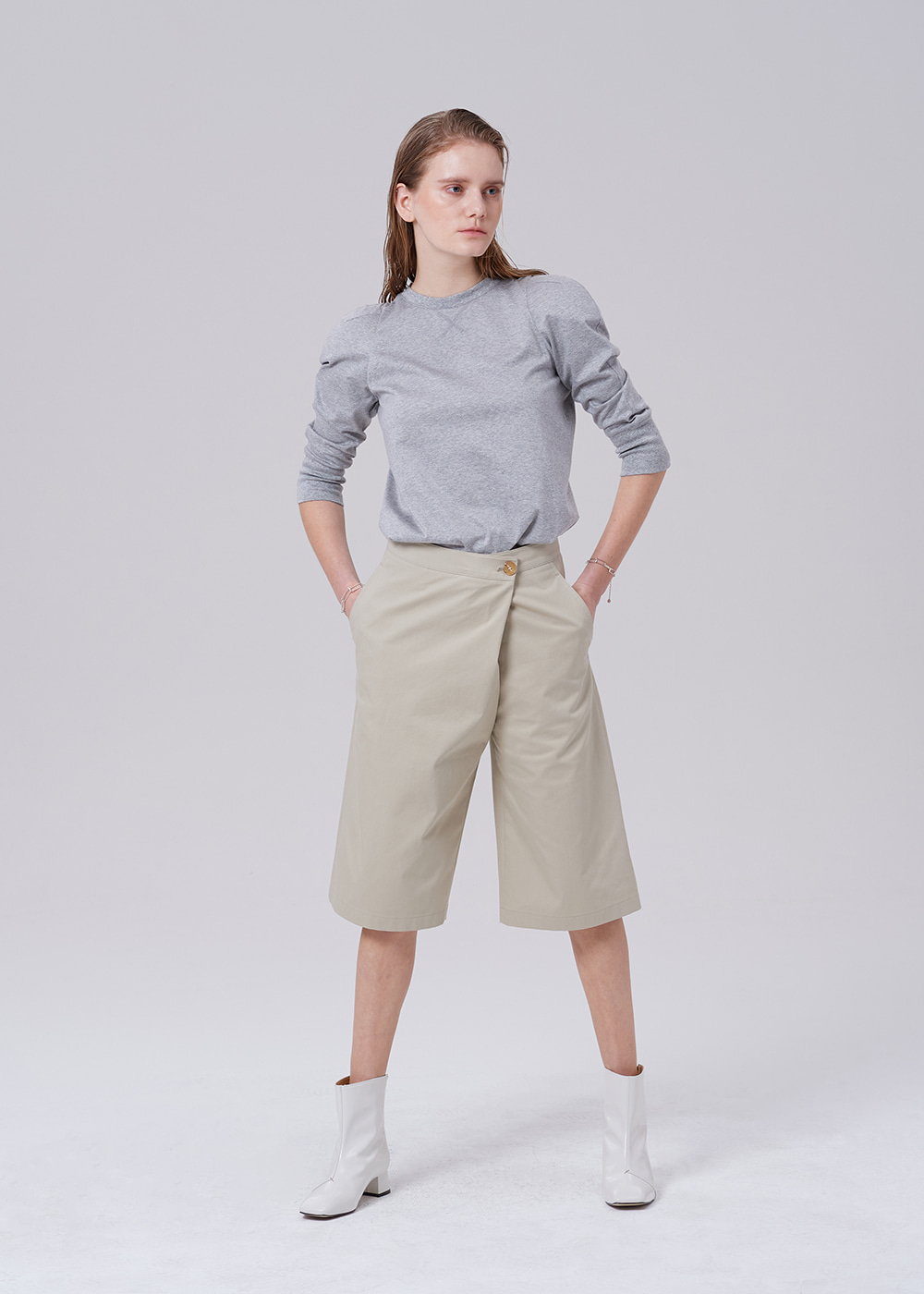 Wrap Waist Wide Short L_KHAKI