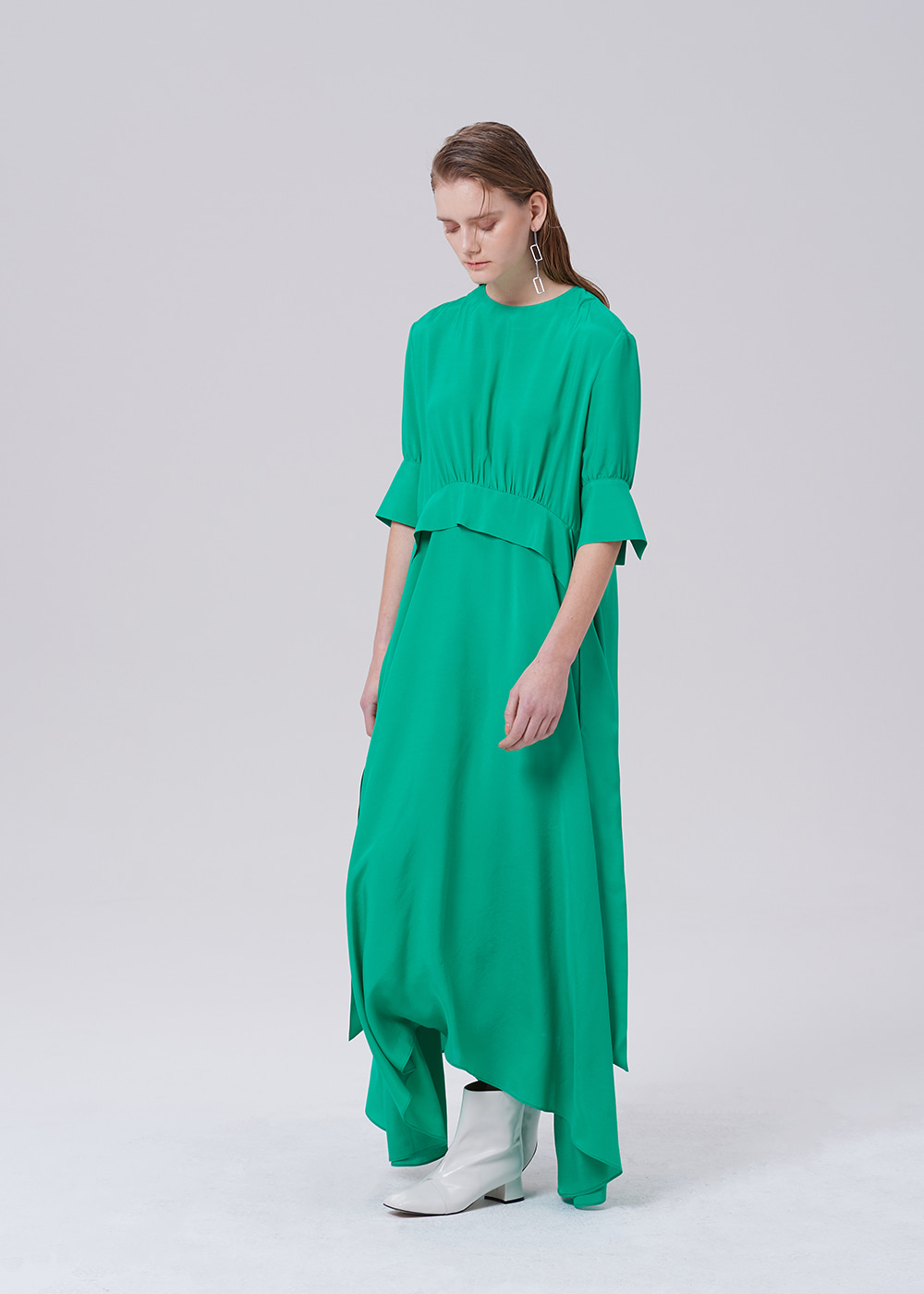 Waist Tie Long Dress GREEN