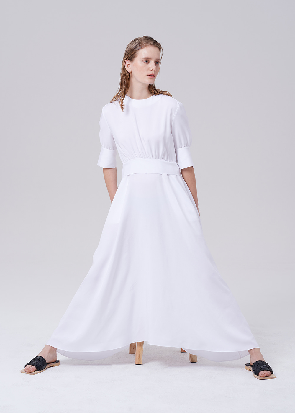 Waist Tie Long Dress IVORY